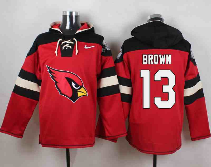 Nike Cardinals 13 Jaron Brown Red Hooded Jersey