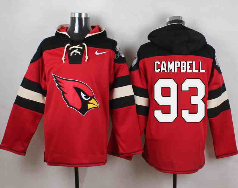 Nike Cardinals 93 Calais Campbell Red Hooded Jersey