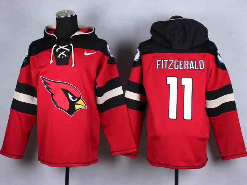Nike Cardinals 11 Fitzgerald Red Hooded Jerseys