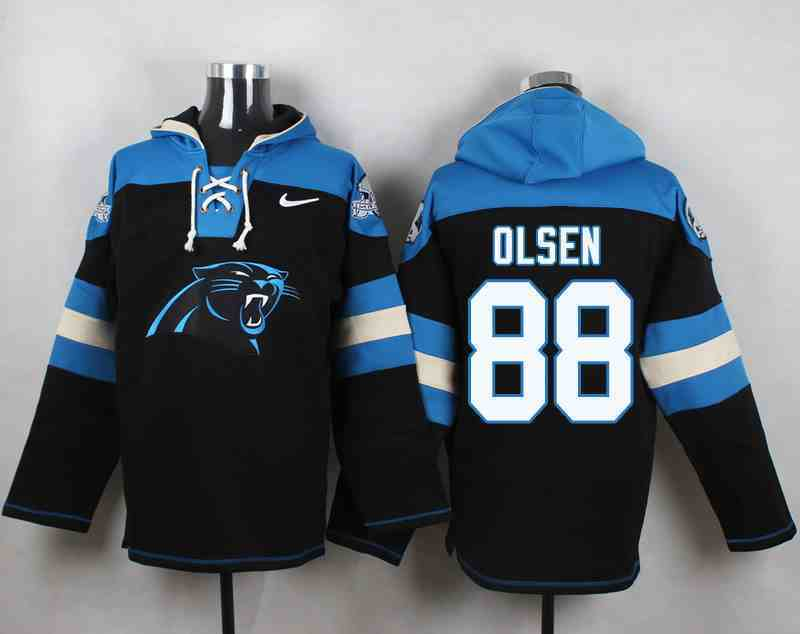 Nike Panthers 88 Greg Olsen Black Hooded Jersey