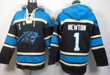 Nike Carolina Panthers #1 Cam Newton Black Sawyer Hooded Sweatshirt NFL Hoodie