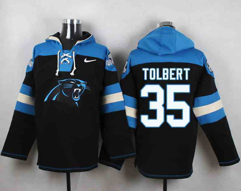 Nike Panthers 35 Mike Tolbert Black Hooded Jersey