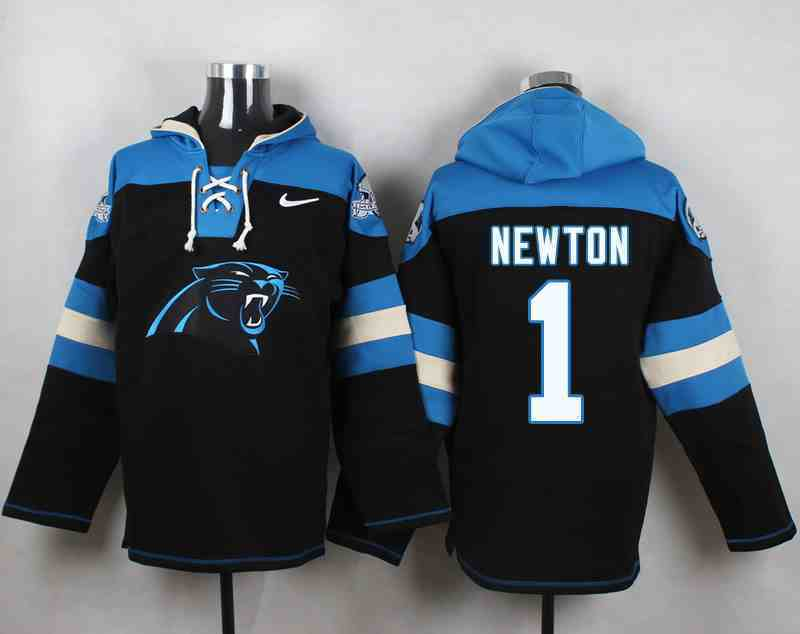 Nike Panthers 1 Cam Newton Black Hooded Jersey