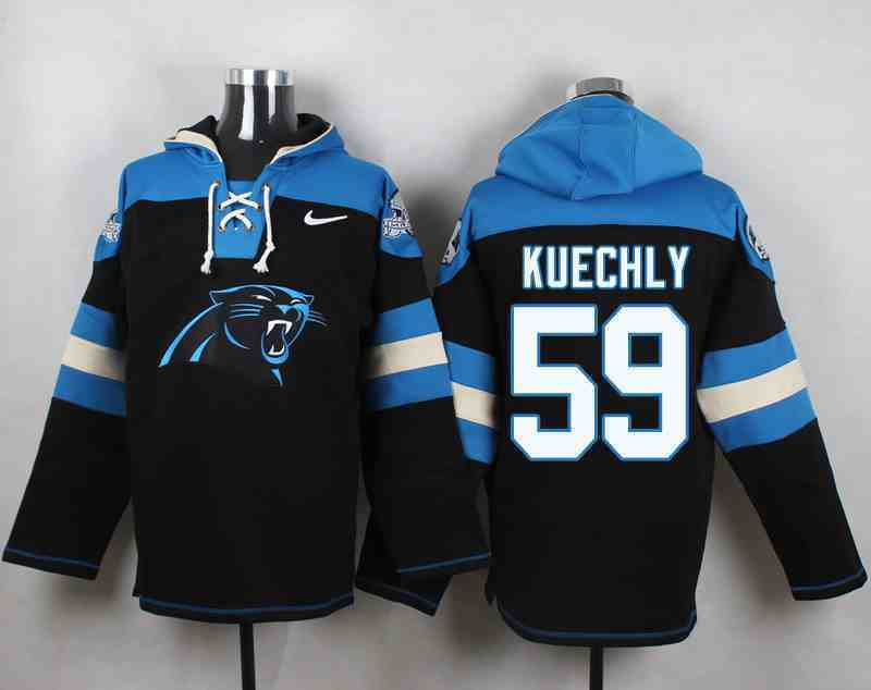 Nike Panthers 59 Luke Kuechly Black Hooded Jersey