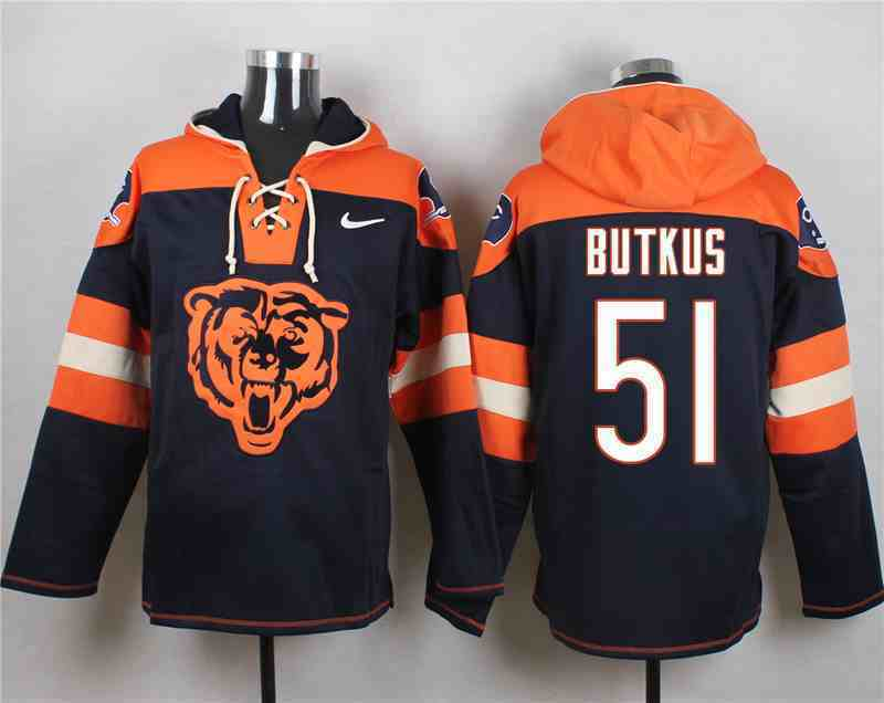 Nike Bears 51 Dick Butkus Navy Hooded Jersey