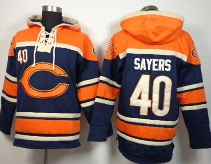 Nike Chicago Bears #40 Gale Sayers Blue Sawyer Hooded Sweatshirt NFL Hoodie