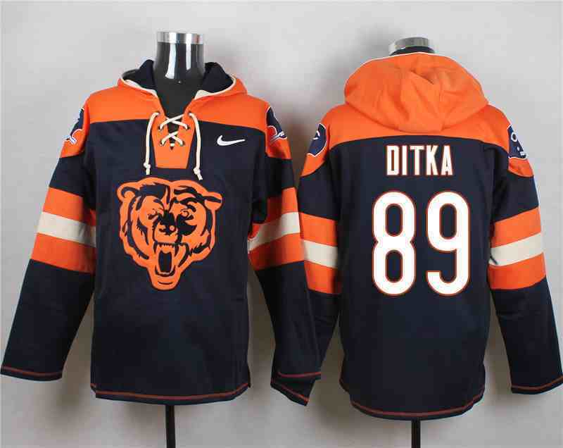 Nike Bears 89 Mike Ditka Navy Hooded Jersey