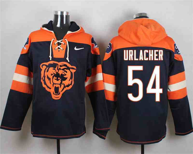Nike Bears 54 URLACHER Navy Hooded Jersey