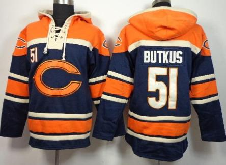 Nike Chicago Bears #51 Dick Butkus Blue Sawyer Hooded Sweatshirt NFL Hoodie