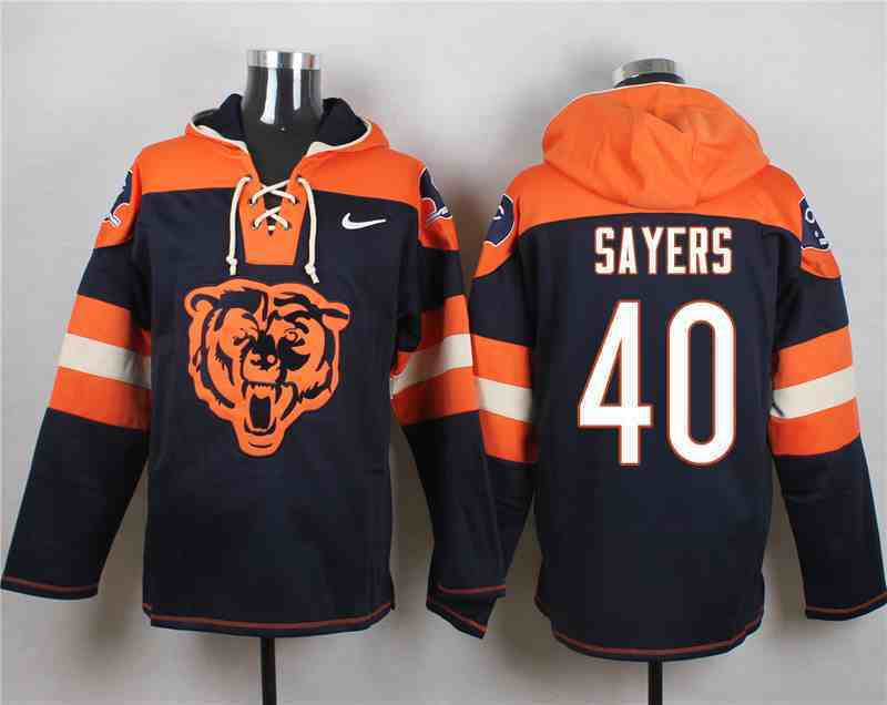Nike Bears 40 Gale Sayers Navy Hooded Jersey