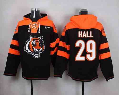 Nike Bengals 29 Leon Hall Black Hooded Jersey