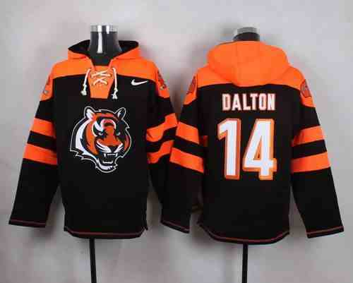 Nike Bengals 14 Andy Dalton Black Hooded Jersey