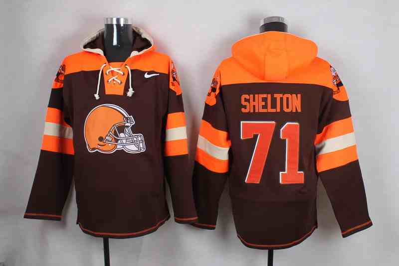 Nike Browns 71 Danny Shelton Brown Hooded Jersey