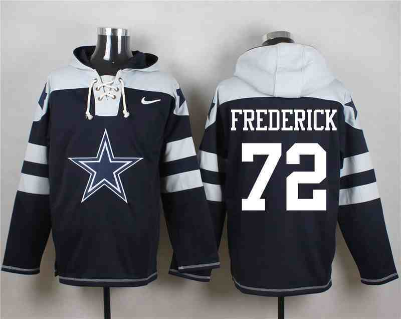 Nike Cowboys 72 Travis Frederick Navy Hooded Jersey