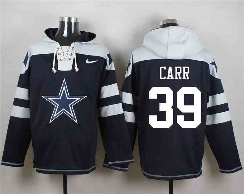 Nike Cowboys 39 Brandon Carr Navy Hooded Jersey