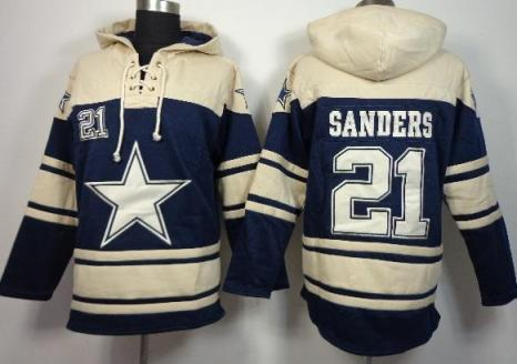 Nike Dallas Cowboys #21 Deion Sanders Blue Sawyer Hooded Sweatshirt NFL Hoodie