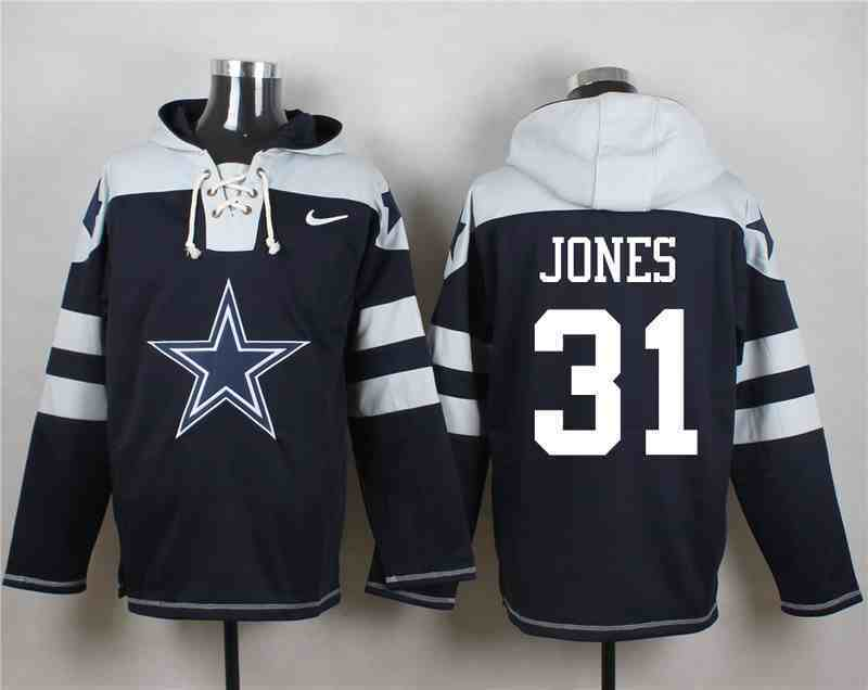 Nike Cowboys 31 Byron Jones Navy Hooded Jersey