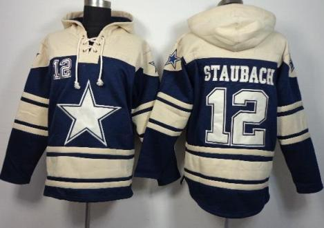 Nike Dallas Cowboys #12 R Staubach Blue Sawyer Hooded Sweatshirt NFL Hoodie