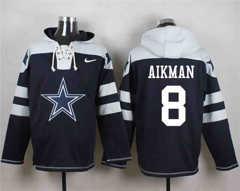 Nike Cowboys 8 Troy Aikman Navy Hooded Jersey