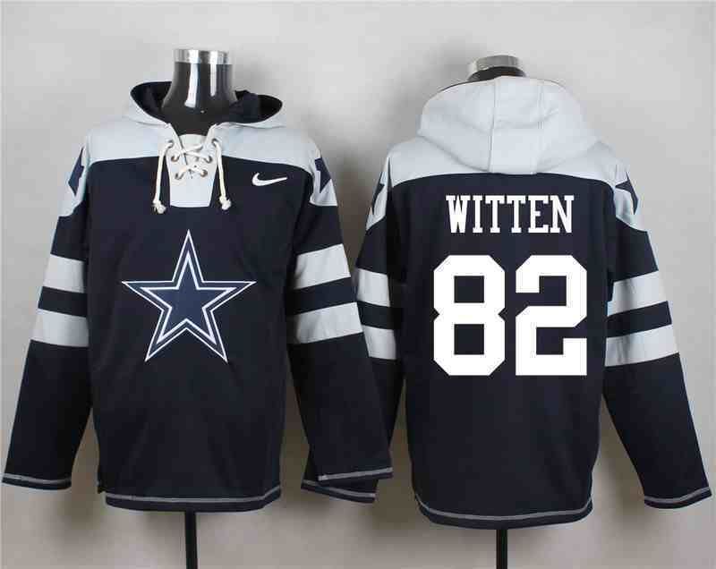 Nike Cowboys 82 Jason Witten Navy Hooded Jersey