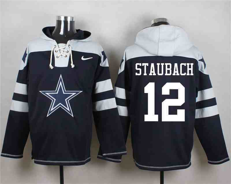 Nike Cowboys 12 Roger Staubach Navy Hooded Jersey