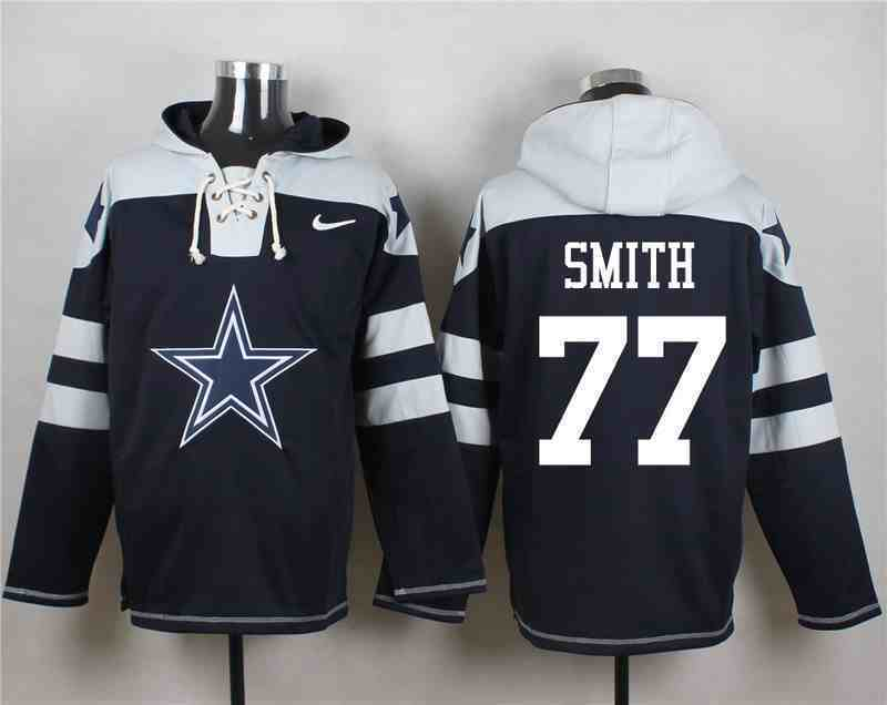 Nike Cowboys 77 Tyron Smith Navy Hooded Jersey