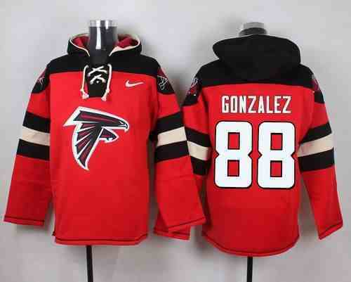 Nike Falcons 88 Tony Gonzalez Red Hooded Jersey