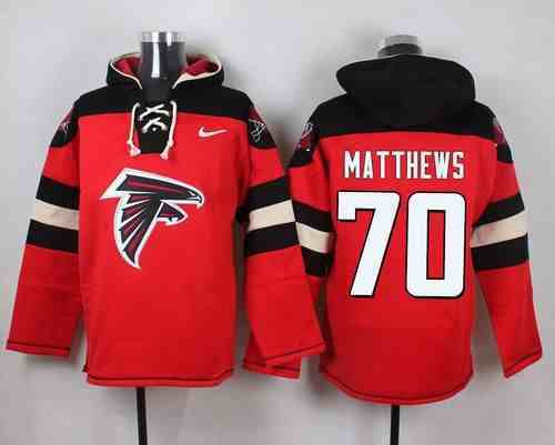 Nike Falcons 70 Jake Matthews Red Hooded Jersey