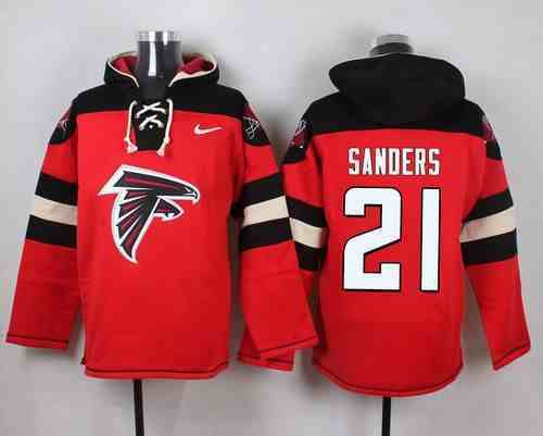 Nike Falcons 21 Deion Sanders Red Hooded Jersey