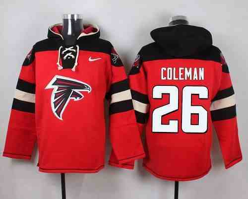 Nike Falcons 26 Tevin Coleman Red Hooded Jersey