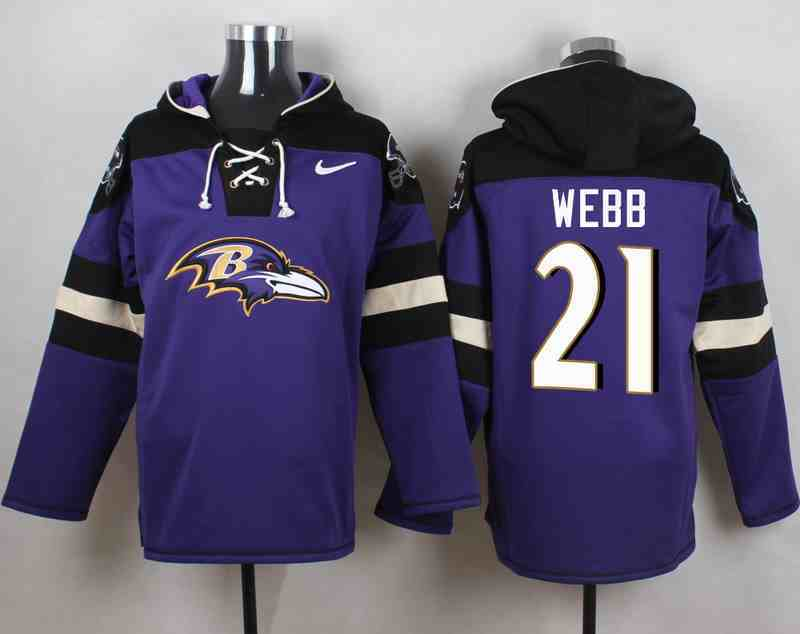Nike Ravens 21 Lardarius Webb Purple Hooded Jersey