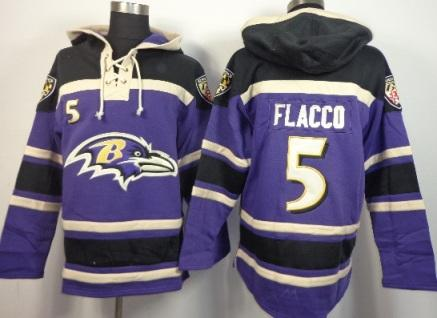 Baltimore Ravens 5 Joe Flacco Purple NFL Hoodie