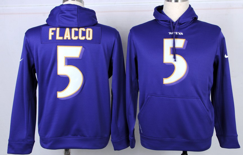 Nike Baltimore Ravens #5 Joe Flacco Purple Hoodie