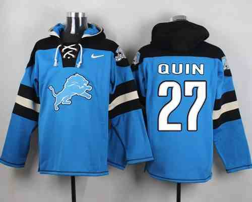 Nike Lions 27 Glover Quin Light Blue Hooded Jersey