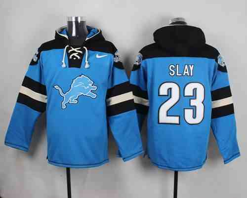 Nike Lions 23 Darius Slay Light Blue Hooded Jersey