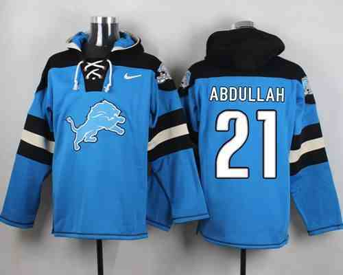 Nike Lions 21 Ameer Abdullah Light Blue Hooded Jersey