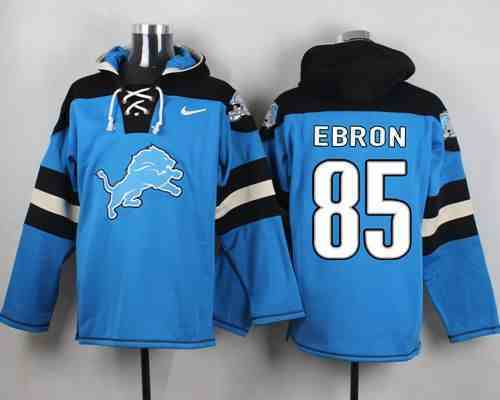 Nike Lions 85 Eric Ebron Light Blue Hooded Jersey