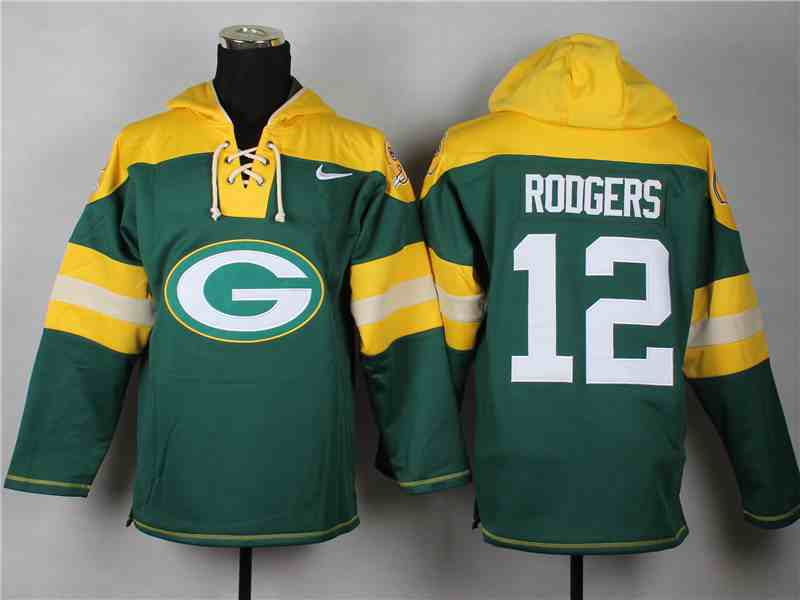 Nike Packers 12 Aaron Rodgers Green Hooded Jersey