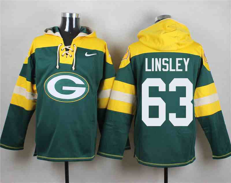 Nike Packers 63 Corey Linsley Green Hooded Jersey