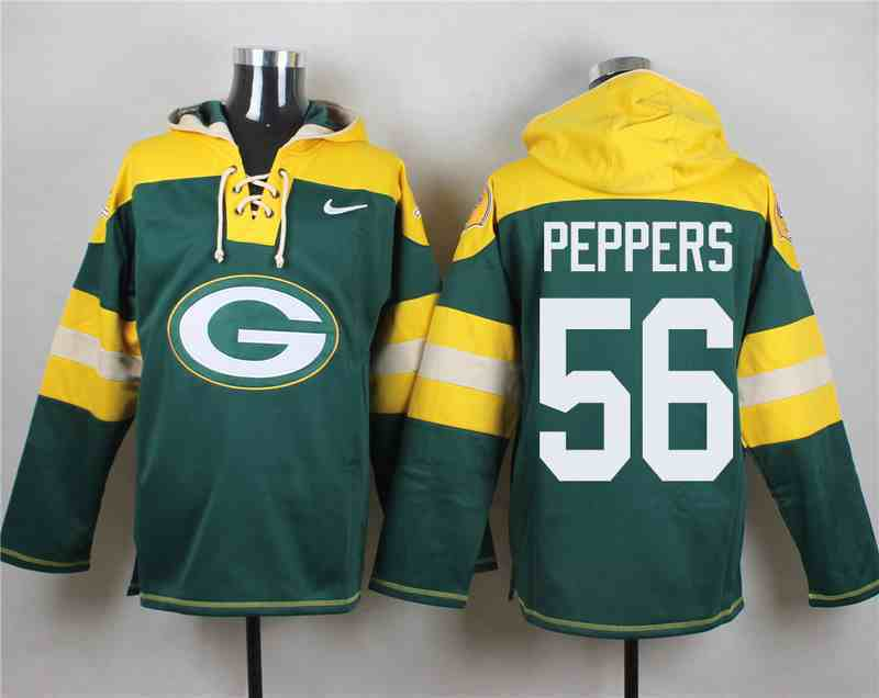 Nike Packers 56 Julius Peppers Green Hooded Jersey