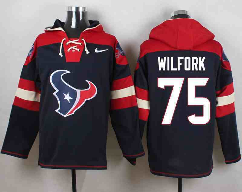 Nike Texans 75 Vince Wilfork Navy Hooded Jersey