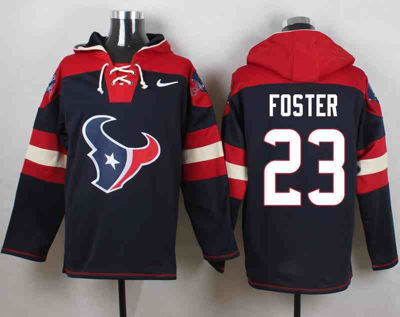 Nike Texans 23 Arian Foster Navy Hooded Jersey