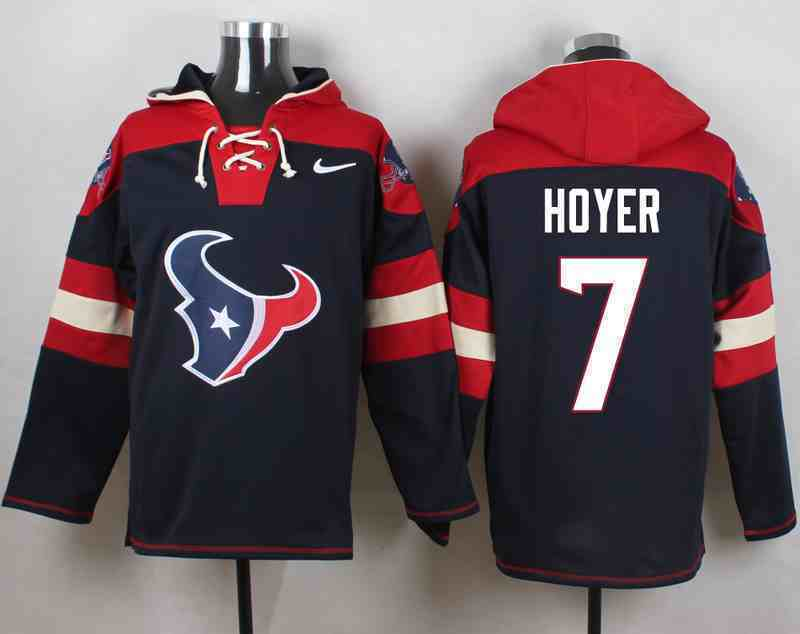 Nike Texans 7 Brian Hoyer Navy Hooded Jersey