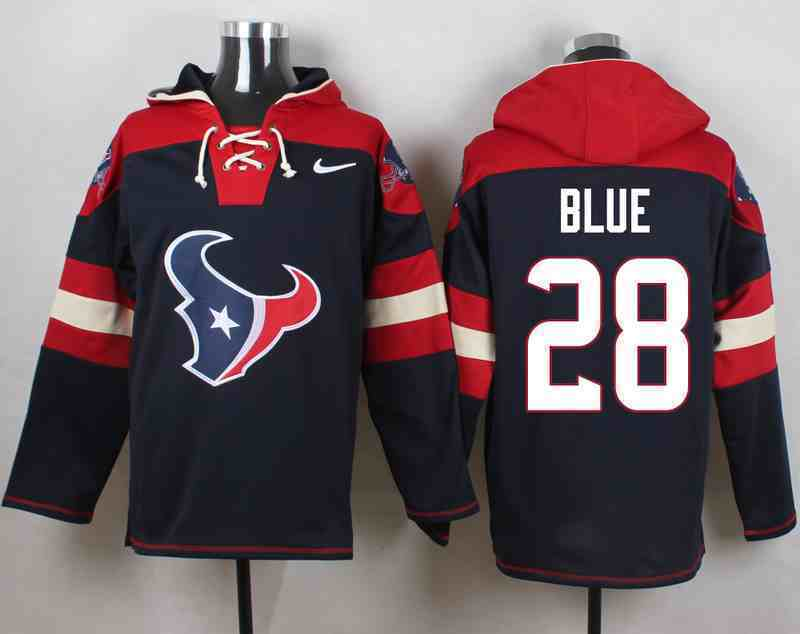 Nike Texans 28 Alfred Blue Navy Hooded Jersey