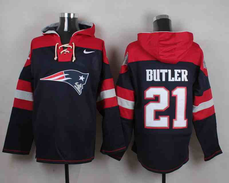 Nike Patriots 21 Malcolm Butler Navy Hooded Jersey