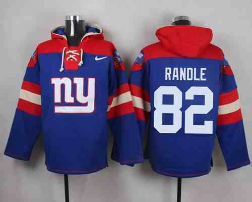 Nike Giants 82 Rueben Randle Blue Hooded Jersey