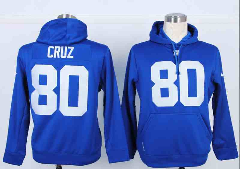 Nike New York Giants #80 Victor Cruz Blue Hoodie