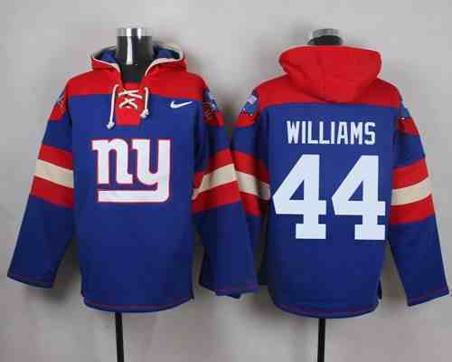 Nike Giants 44 Andre Williams Blue Hooded Jersey