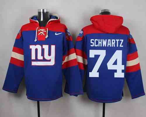 Nike Giants 74 Geoff Schwartz Blue Hooded Jersey