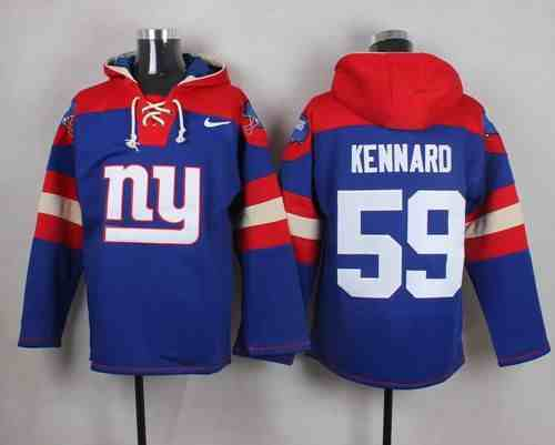 Nike Giants 59 Devon Kennard Blue Hooded Jersey